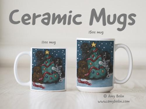 """""""Christmas Together"""" Black, Brown, & Landseer Ceramic Mug 11oz or 15oz"""