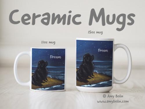 """""""Dream"""" Black Newfoundland Ceramic Mug 11oz or 15oz"""