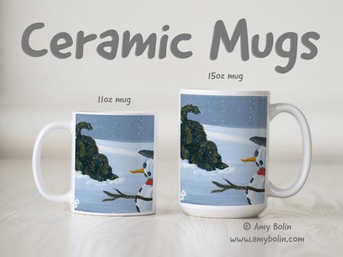 """""""My Snowy Friend"""" Brown Newfoundland Ceramic Mug 11oz or 15oz"""