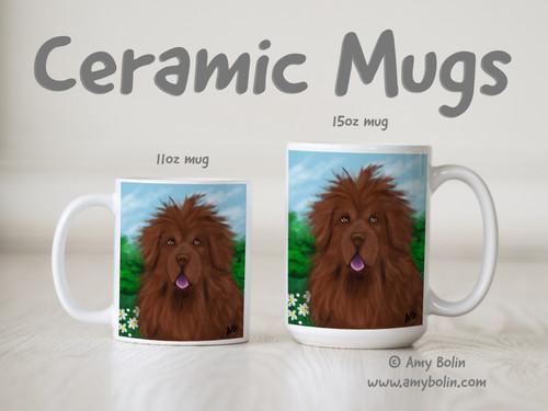 """""""Shaggy"""" Brown Newfoundland Ceramic Mug 11oz or 15oz"""