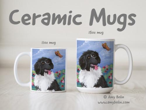 """Spring's Simple Pleasures"" Landseer Newfoundland Ceramic Mug 11oz or 15oz"