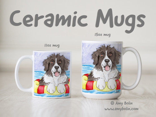 """Summer Fun"" Landseer Newfoundland Ceramic Mug 11oz or 15oz"