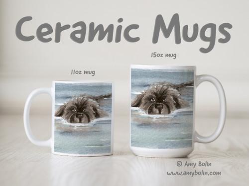 """""""Swimming Newf"""" Gray Newfoundland Ceramic Mug 11oz or 15oz"""