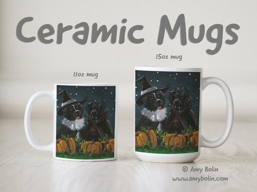 """""""Trick Or Treat"""" Black & Landseer Newfoundland Ceramic Mug 11oz or 15oz"""