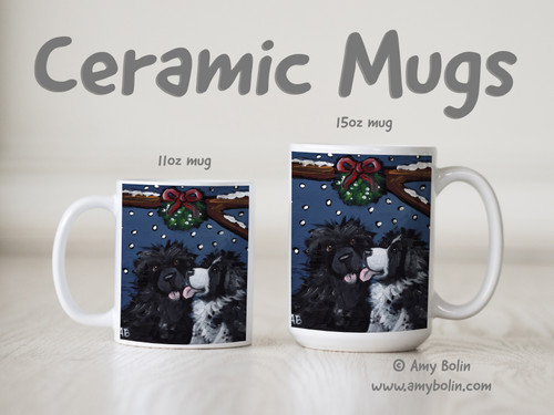 """""""Under The Mistletoe"""" Black & Landseer Newfoundlands Ceramic Mug 11oz or 15oz"""