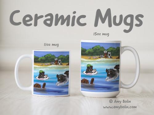 """""""Water Rescue 101"""" Black, Brown, & Landseer Newfoundland Ceramic Mug 11oz or 15oz"""