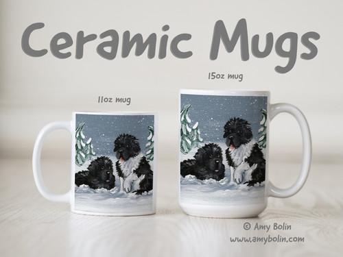 """""""Winter Buddies"""" Black & Landseer Newfoundlands Ceramic Mug 11oz or 15oz"""