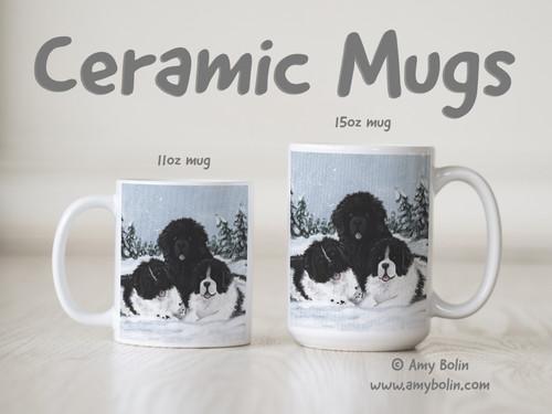 """""""Winter Buddies 2"""" Black & Landseer Newfoundlands Ceramic Mug 11oz or 15oz"""