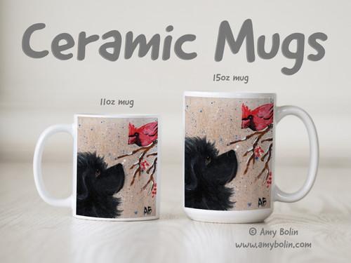"""""""Winter Friends"""" Black Newfoundland & Cardinal Ceramic Mug 11oz or 15oz"""