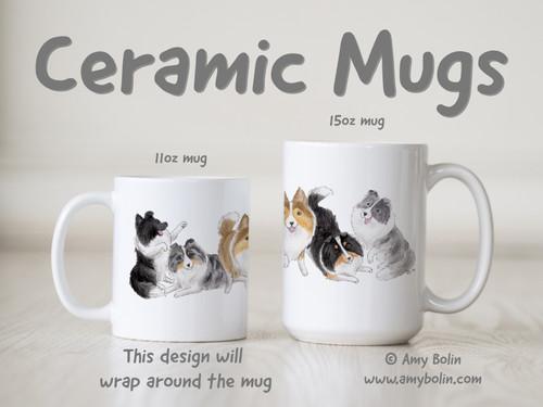 """Shades Of Shelties"" Bi Black, Bi Blue, Blue Merle, Sable, Tri Color Shetland Sheepdogs Ceramic Mug 11oz or 15oz"