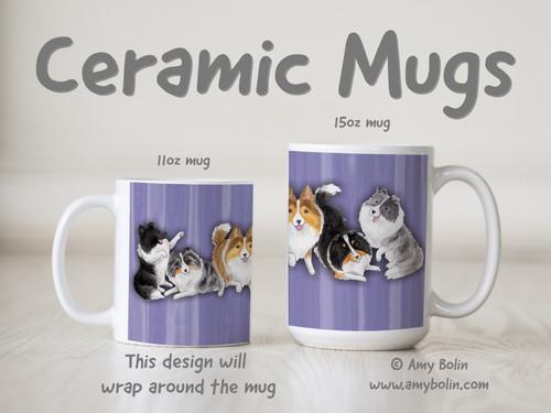 """Shades Of Shelties Purple"" Bi Black, Bi Blue, Blue Merle, Sable, Tri Color Shetland Sheepdogs Ceramic Mug 11oz or 15oz"