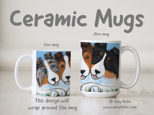 """BFF's"" Blue Merle, Sable, Tri Color Shetland Sheepdogs Ceramic Mug 11oz or 15oz"