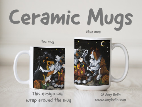 """""""Shelties Around The Campfire"""" Blue Merle, Sable, Tri Color Shetland Sheepdogs Ceramic Mug 11oz or 15oz"""