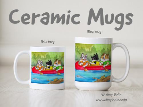 """Shelties On The River"" Bi Black, Blue Merle, Sable Shetland Sheepdogs Ceramic Mug 11oz or 15oz"