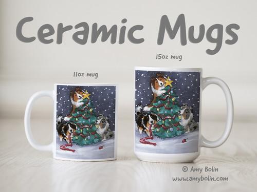"""Christmas Together"" Blue Merle, Sable, Tri Color Shetland Sheepdogs Ceramic Mug 11oz or 15oz"