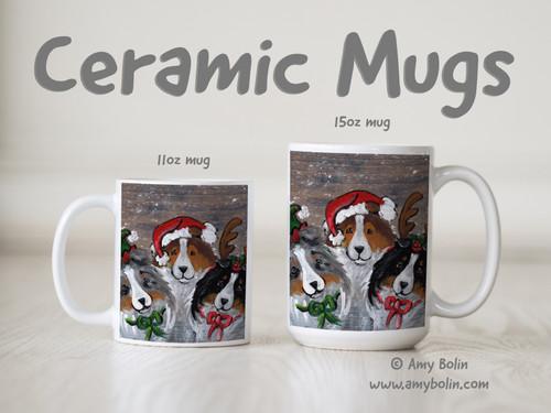 """""""Christmas Buddies"""" Blue Merle, Sable, Tri Color Shetland Sheepdogs Ceramic Mug 11oz or 15oz"""