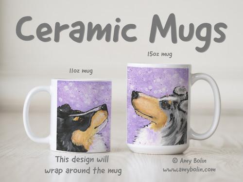 """""""Wish Upon A Snowflake"""" Blue Merle, Tri Color Shetland Sheepdogs Ceramic Mug 11oz or 15oz"""