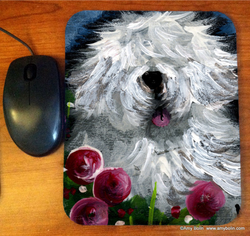 """""""Mom's Favorite Flower"""" Old English Sheepdog Mouse Pad"""