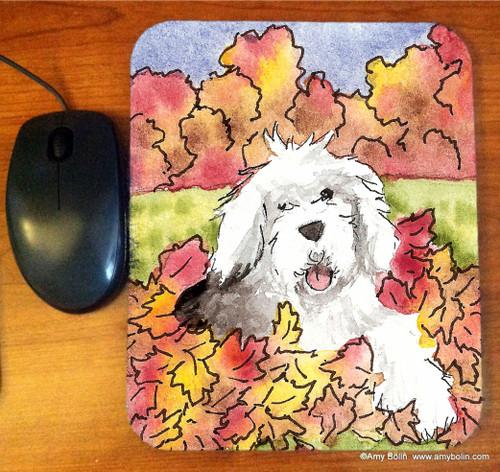 """Leaf Romp"" Old English Sheepdog Mouse Pad"