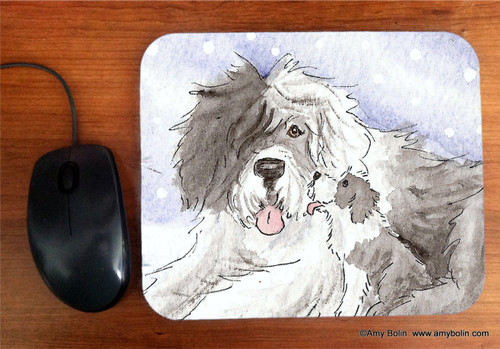 """""""Little Kiss"""" Old English Sheepdog Mouse Pad"""