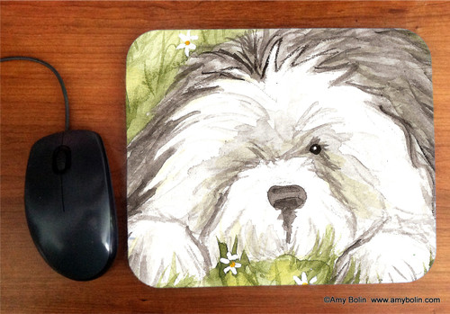 """""""Sheepie In The Daisies"""" Old English Sheepdog Mouse Pad"""