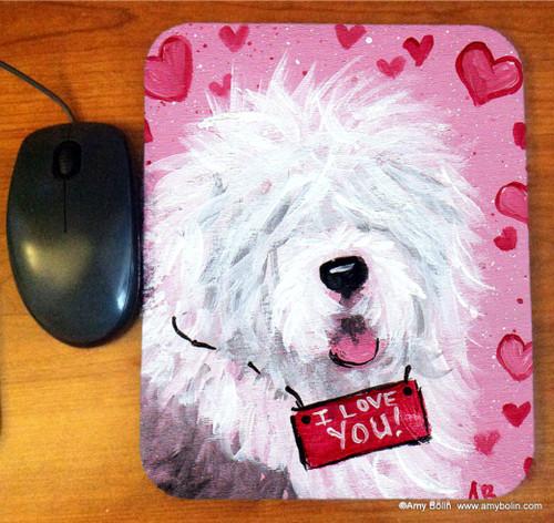 """Valentine Kisses"" Old English Sheepdog Mouse Pad"