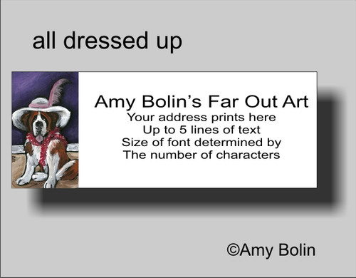 """""""All Dressed Up With Nowhere To Go"""" Saint Bernard Address Labels"""