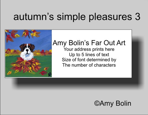 """Autumn's Simple Pleasures 3"" Saint Bernard Address Labels"