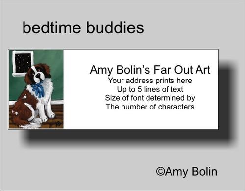 """""""Bedtime Buddies"""" Saint Bernard Address Labels"""