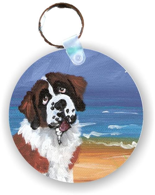 """A Day At The Beach"" Saint Bernard Keychain"