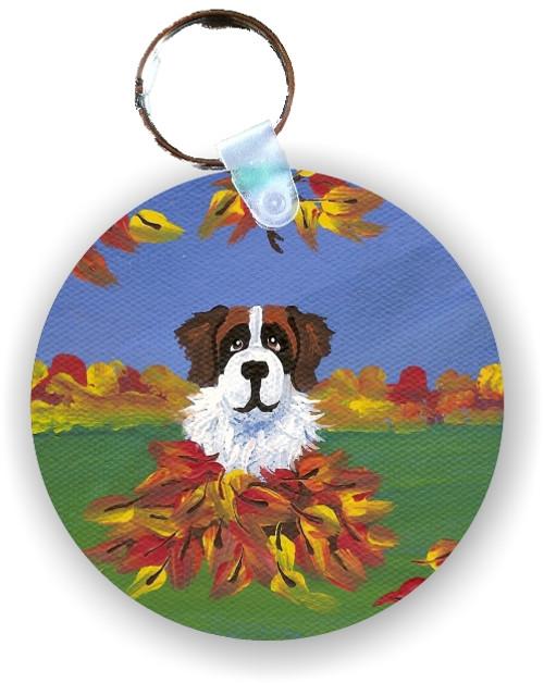 """Autumn's Simple Pleasures 3"" Saint Bernard Keychain"