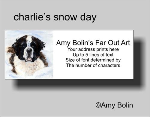 """Charlie's Snow Day"" Saint Bernard Address Labels"