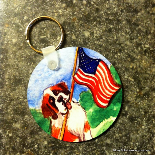 """Proud To Be American"" Saint Bernard Keychain"