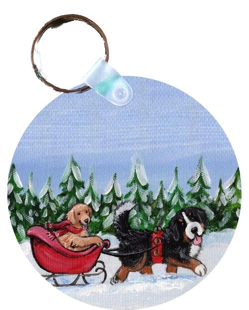 """A Wintry Ride"" Bernese Mountain Dog & Golden Retriever Keychain"