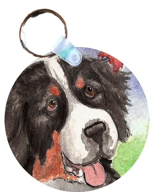 """Autumn Berner"" Bernese Mountain Dog Keychain"