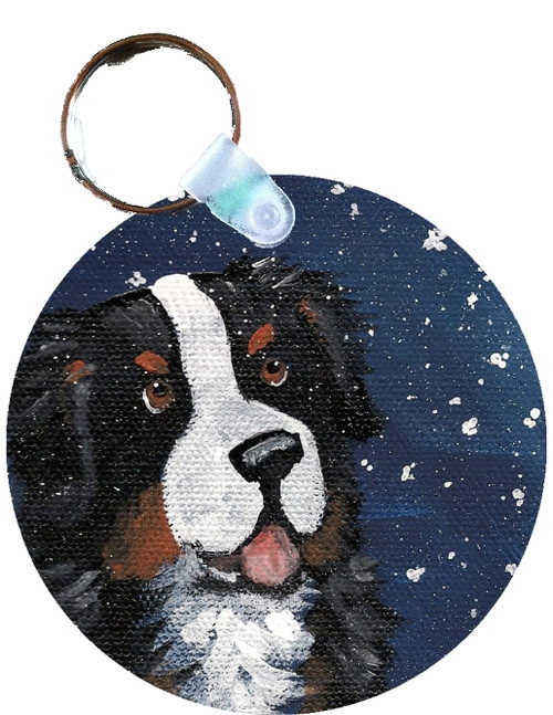"""""""Counting Snowflakes"""" Bernese Mountain Dog Keychain"""