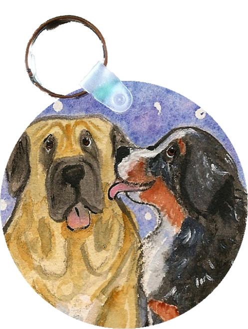 """Little Kiss"" Bernese Mountain Dog, Mastiff Keychain"