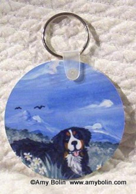 """""""Mountain Home"""" Bernese Mountain Dog Keychain"""