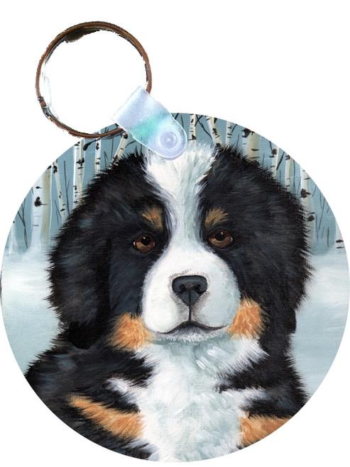 """Puppy Eyes"" Bernese Mountain Dog Keychain"