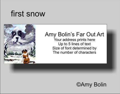 """""""First Snow"""" Saint Bernard Address Labels"""