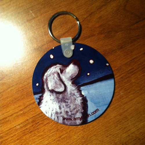 """""""Counting Snowflakes"""" Great Pyrenees Keychain"""