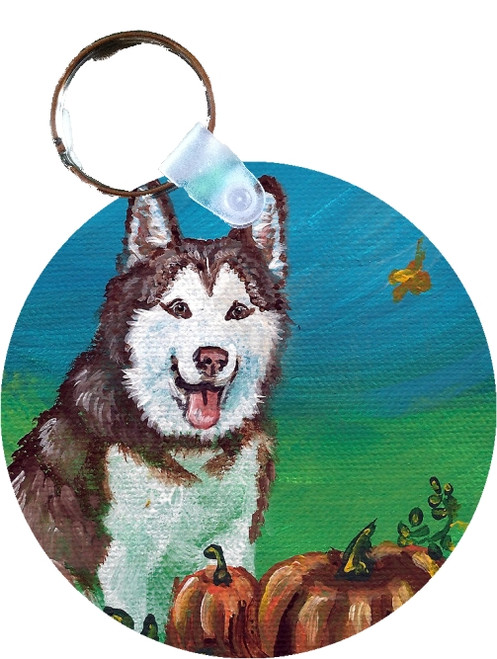 """Autumn's Simple Pleasures"" Siberian Husky Key Chain"