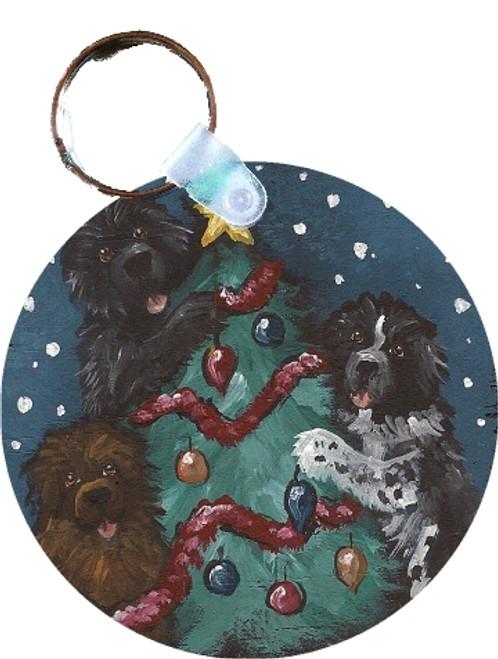 """""""Christmas Together"""" Black, Brown, Landseer Newfoundland Keychain"""