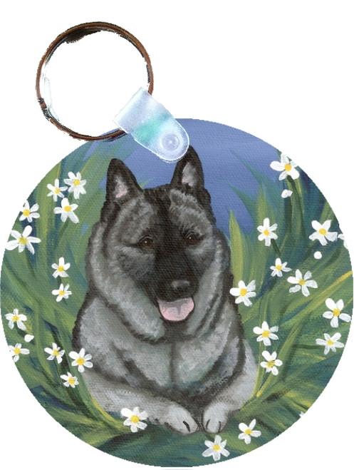 """Daisies 1"" Norwegian Elkhound Keychain"