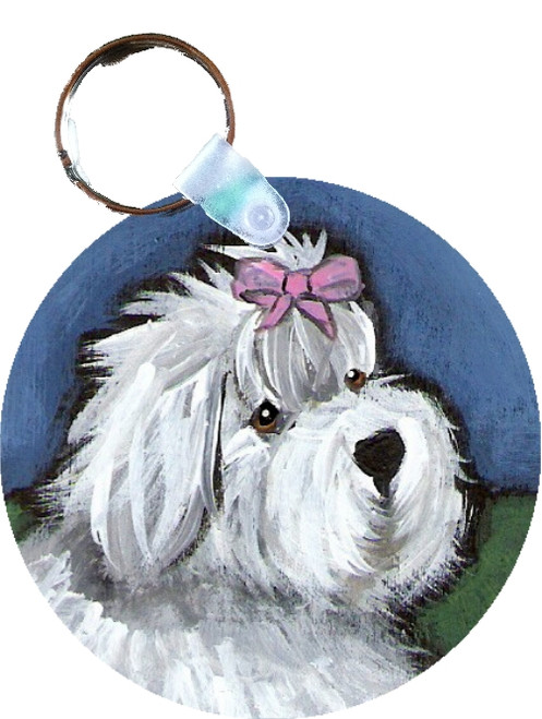"""""""All Gussied Up"""" Old English Sheepdog Keychain"""