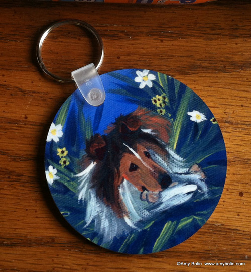 """A Secret Treat"" Sable Shetland Sheepdog Keychain"
