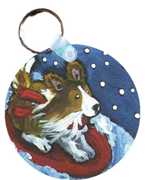 """""""A Snowy Ride"""" Sable Shetland Sheepdog Keychain"""