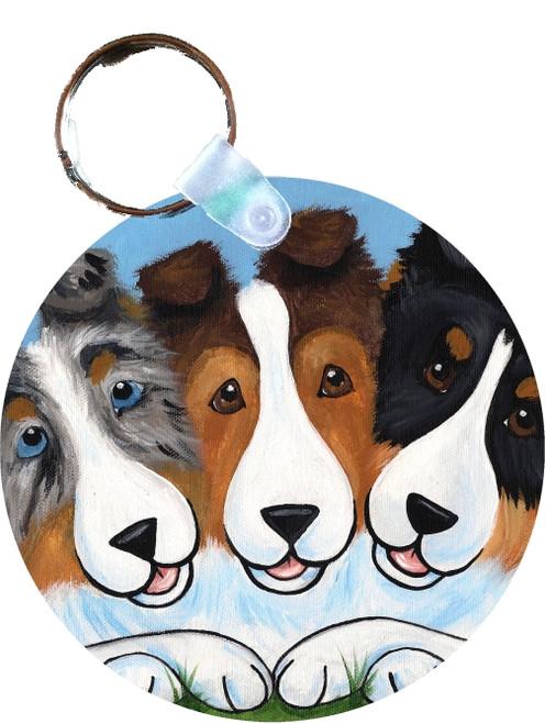 """BFF's"" Blue Merle, Sable, Tri Color Shetland Sheepdog Keychain"