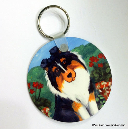 """Pretty As A Picture"" Tri Color Shetland Sheepdog Keychain"