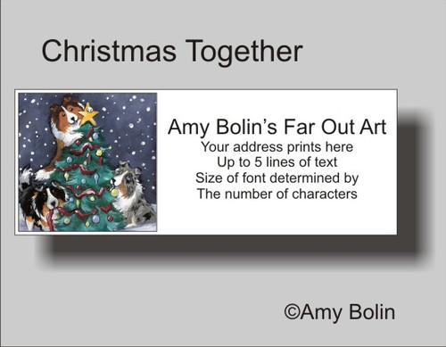 """Christmas Together"" Blue Merle, Sable, Tri Color Shetland Sheepdog Address Labels"